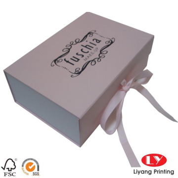 Magnetic cardboard flat gift box with ribbon