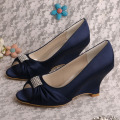 Peep Toe Wedding Wedge Heel Navy Satin Shoes
