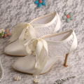 Ivory Lace up Wedding Shoes Bridal High Heel