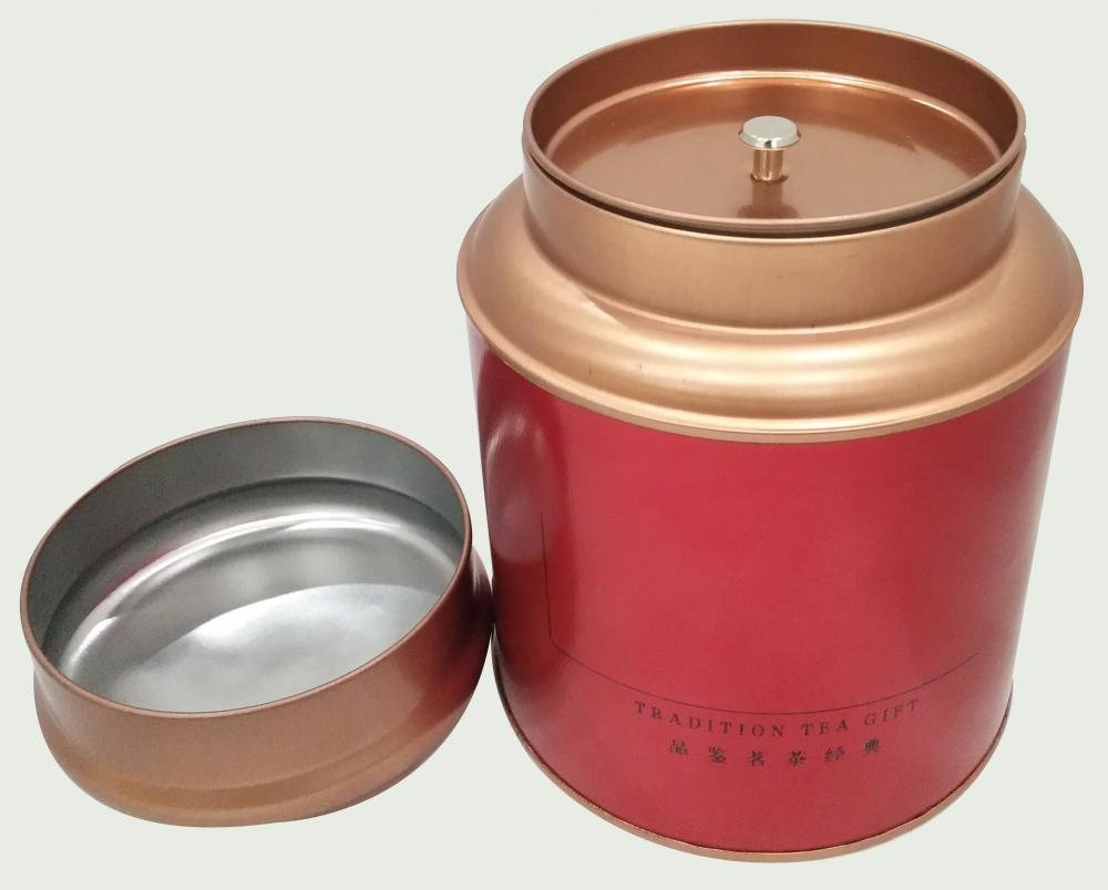 Red Coffee Tin Can with Double Lid