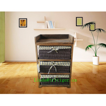 New eco-friendly wood furniture Wicker Cane Basket Storage cabinet