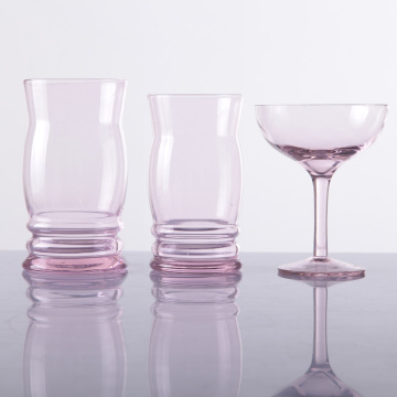 Hand Blown Glass Pink Set Glassware