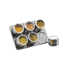 stainless steel spice rack with magnetic jars