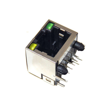 RJ45 Jack side entry Full Plastic with LED1x1P