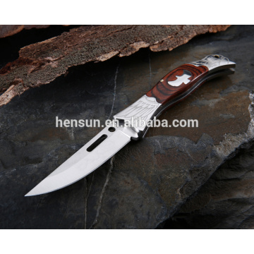Closed Stainless Steel Pocket Knife with Wood Handle