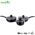 6 Pcs Black Marble Coated Nonstick Cookware Sets