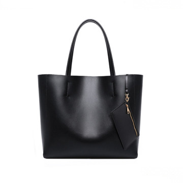 Womens Black Leather Tote Hand Bags with Wallet
