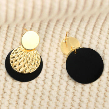 Pretty Hammered Black Gold Disc Drop Earrings