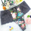 China wholesale new style printed floral apricot sexy briefs lace spandex fancy thongs 6891