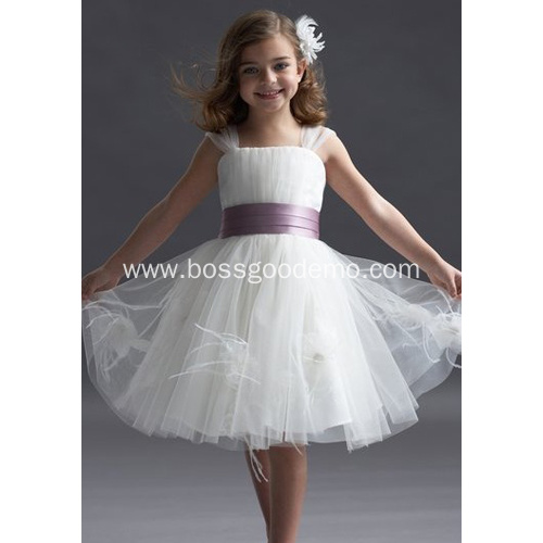 Ball Gown Wide Straps Knee-length Taffeta Yarn Tiered Flower Girl