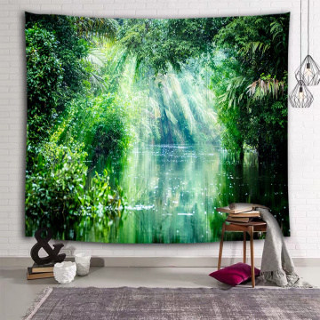 Lake Natural Landscape Wall Tapestry Green Forest Sunlight Tapestry Wall Hanging for Livingroom Bedroom Dorm Home Decor