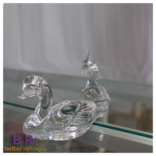 Hand Pressed Clear Swan Decoration Glass Animal Figurines