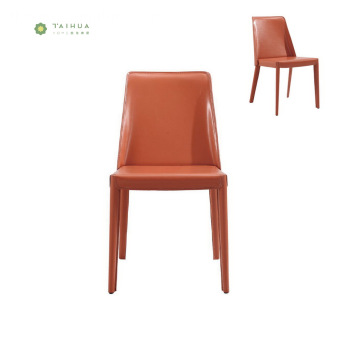 Naka-istilong Orange Metal Frame Dining Chair