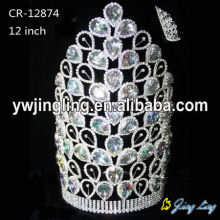Large rhinestone big size wholesale crowns CR-12874