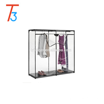 Transparent folding plastic clothes wardrobe