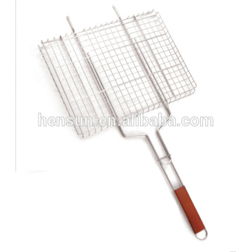 Wooden Handle Barbecue Grilling Wire Mesh Basket