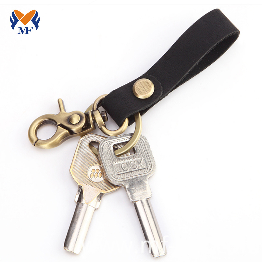 Leather Keychain With Clip