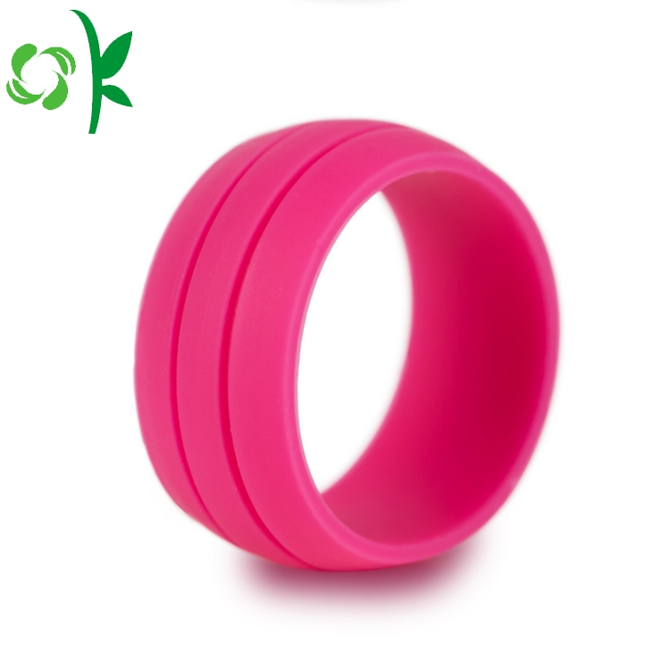 deep pink silicone debossed ring