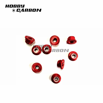 Grade 5 Aluminum Anodized Serrated Flange Nuts