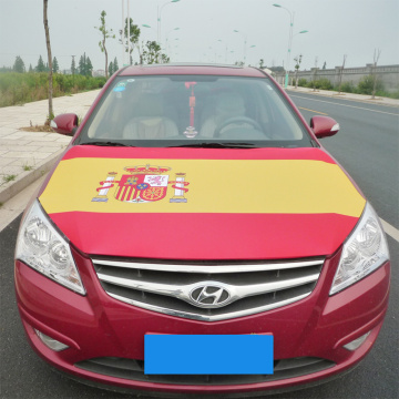 Spain flag Printing Knitted polyester Spandex car engine Hood cover