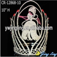 Professional for Gold Pageant Crowns 10 Inch Rhinestone Cinderella Princess Crowns supply to Somalia Factory