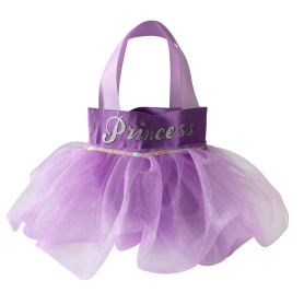 Purple happy birthday gift bag with skirt shape