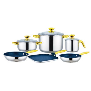 Free sample for for Cookware Set,Copper Cookware Set,Stainless Steel Cookware Sets Manufacturers and Suppliers in China 9 Pcs Cookware Set with Square Griddle export to India Factories