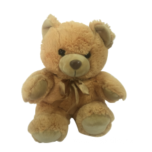 Plush Teddy Bear In Golden Bow