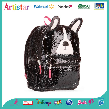 Black puppy travel sequins backpack