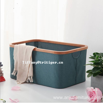 Supplier oxford Laundry basket bamboo foldable clothing basket