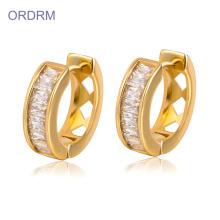 Little 14k Gold Cubic Zirconia Hoop Earrings