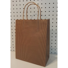 China for Brown Paper Bag With Twisted Handle Logo Free Brown Kraft Paper Handbag export to Azerbaijan Supplier
