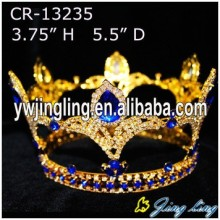 Custom  Fleur De Lis Full Round Crown Gold Pageant Crowns