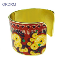 High Quality for Feather Cuff Bracelet Custom Enamel Wide Gold Plated Cuff Bracelet supply to Russian Federation Wholesale