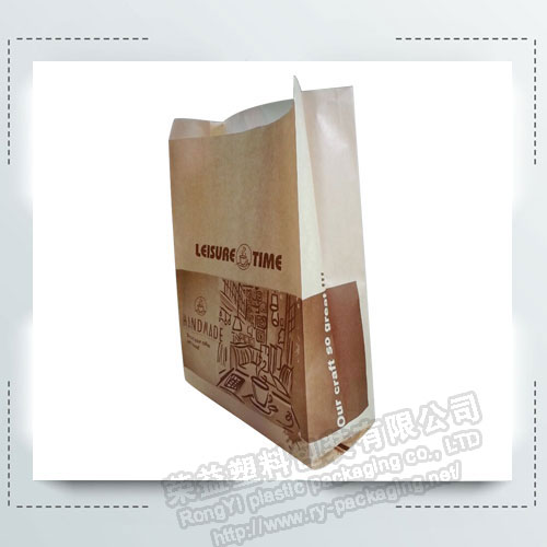 Wholesale printed kraft bread packaging paper bags