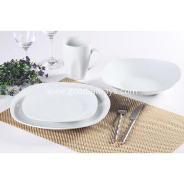 16 Pieces Square White Porcelain Dinner Set Shrink Packing Pallet Packing