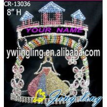 Custom Holiday Castle Rhinestone Princess Pageant Crown