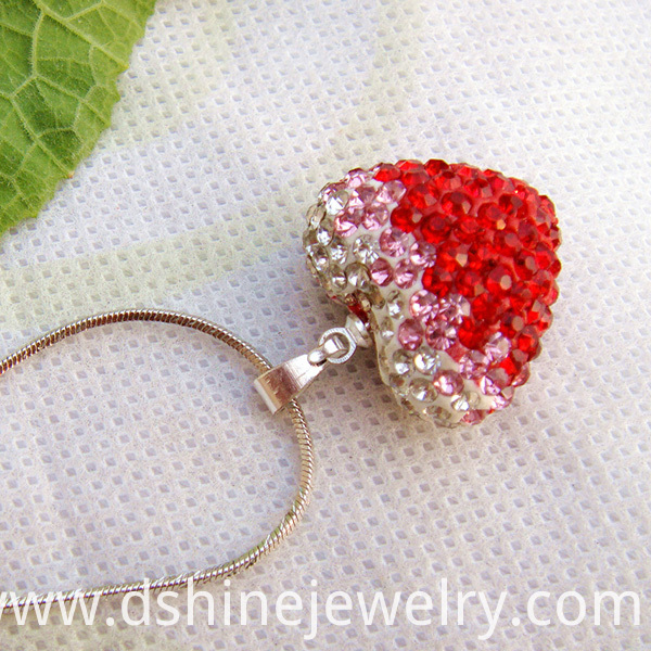 Heart Shamballa Pendant Necklace