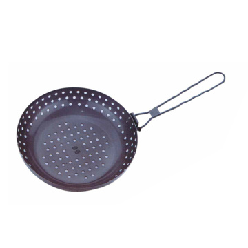 bbq non-stick pan with metal handle