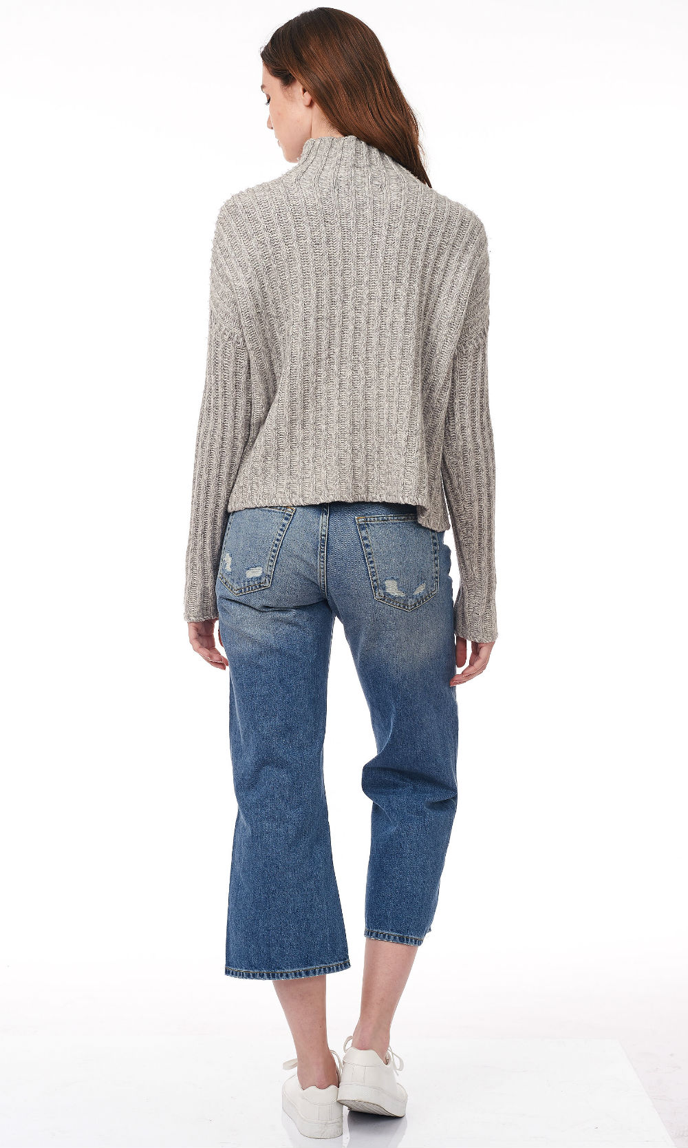 glacier turtle neck wide rib knitwear back