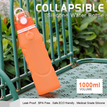 Outdoor silicone collapsible water drinking bottles