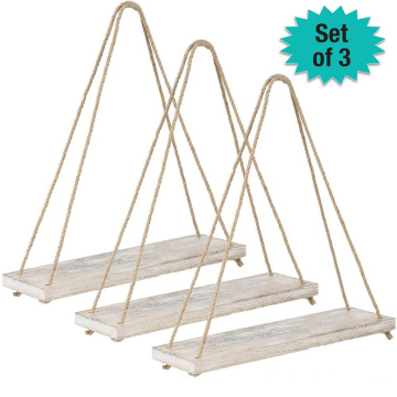 Rustic Distressed Wood Hanging Shelves 17-Inch Swing Rope Floating Shelves