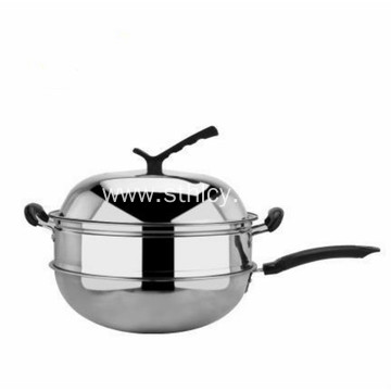 High Quality Stainless Steel Wok With Steamer
