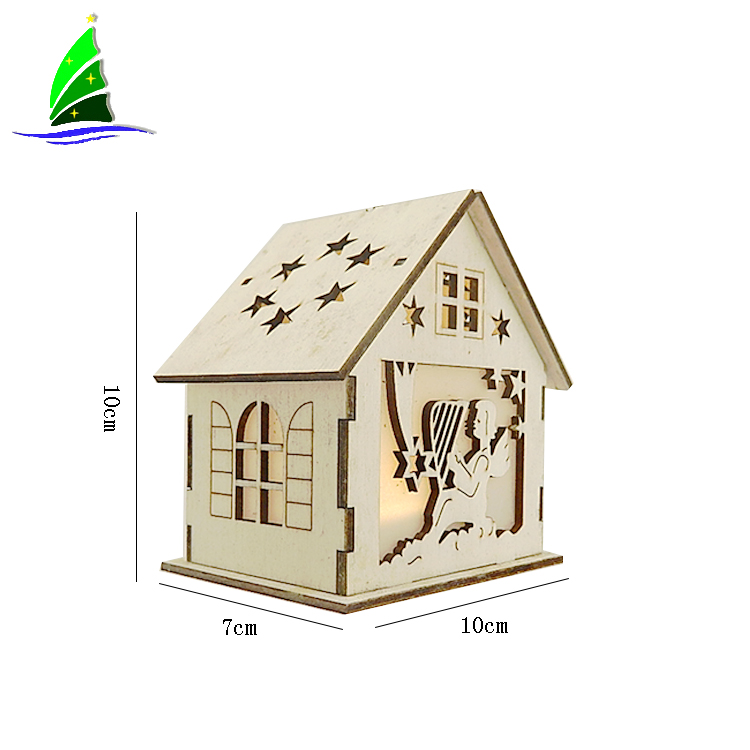 Wooden House Shaped Home Decor Led Light