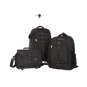 Black Character Fiber Trolley Suitcase Travel Bag