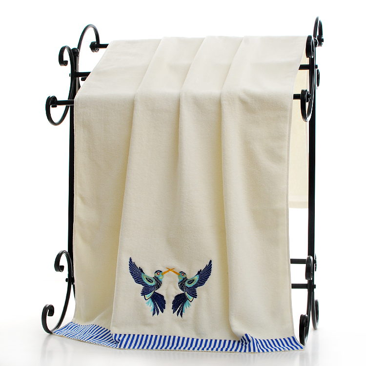 towel with bird embroidery and selvedge