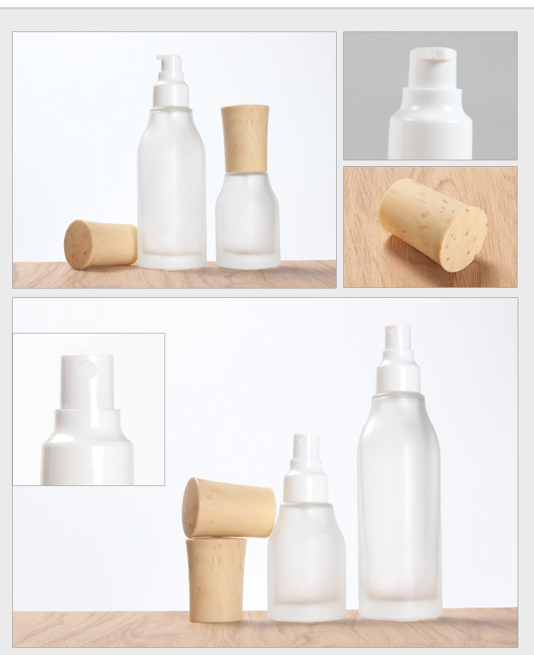 Spot cosmetics glass bottle lotion spray bottle color spray bottle inside the cork bottle wood process can be printed (5)