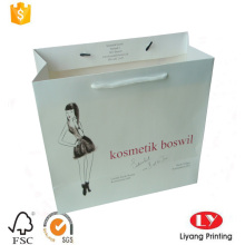 White cosmetic paper bag with polyester rope
