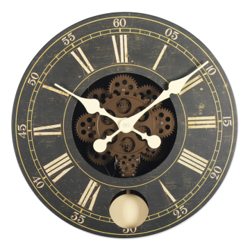 Leading for Wooden Gear Clock Kits Wood gear wall clock with pendulum supply to France Suppliers