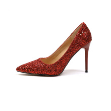 Sequin Pointed Toe Rubber Stiletto Heel Pumps